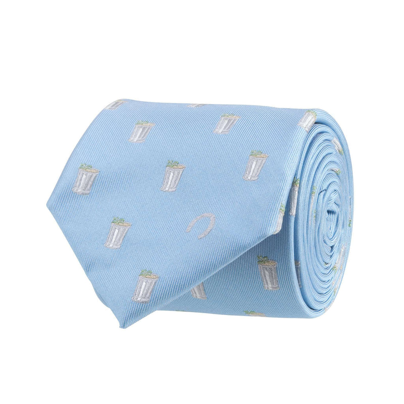 Neck Ties - Mint Julep And Horse Shoe Tie In Light Blue By Southern Proper