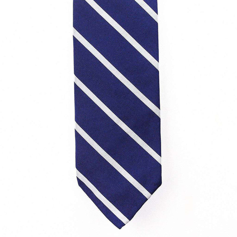 Neck Ties - Mogador Neck Tie In Navy With Silver Stripes By Res Ipsa