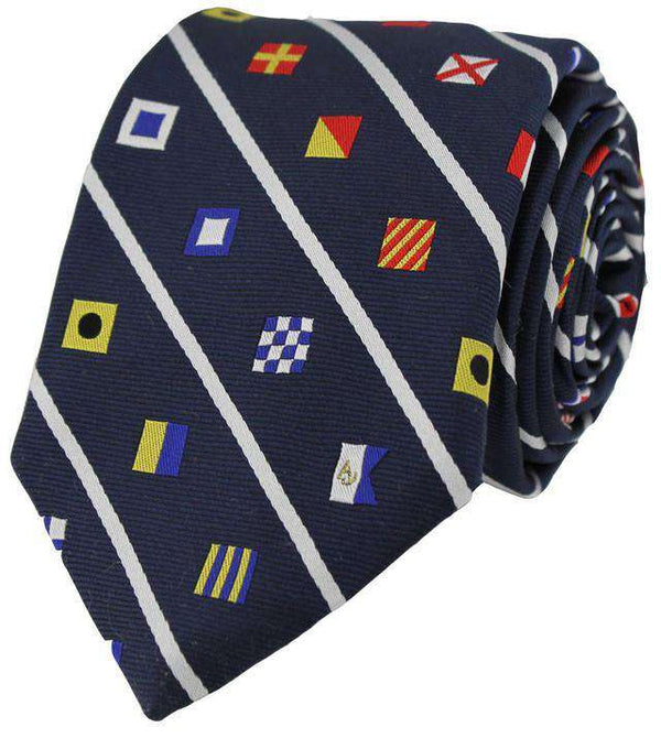 Nautical Signal Flag Neck Tie in Navy by Anchored Style - FINAL SALE
