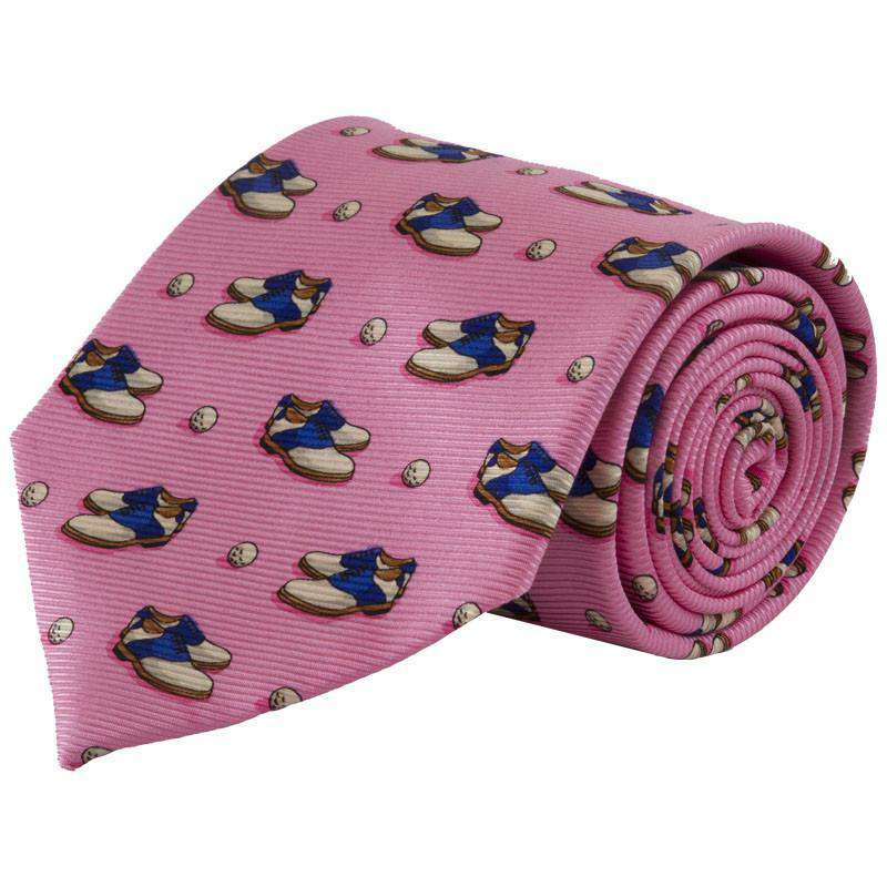 Neck Ties - Old School Golf Shoes Tie In Pink By Southern Proper