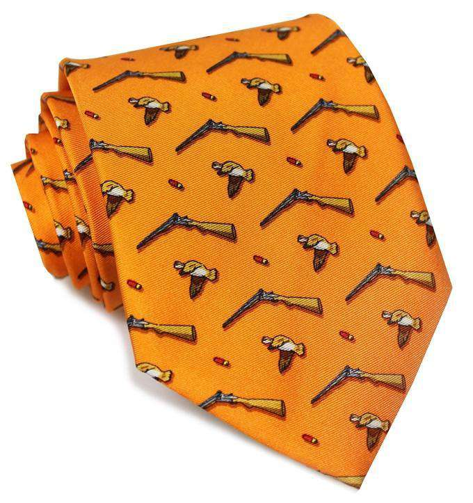 Neck Ties - Open Season Tie In Orange By Bird Dog Bay