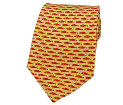 Neck Ties - Original Fish Tie In Yellow With Orange Fish By Salmon Cove