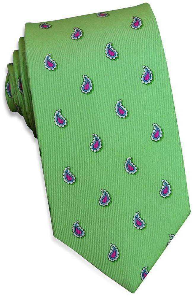 Neck Ties - Paisley Pate Tie In Soft Green By Bird Dog Bay