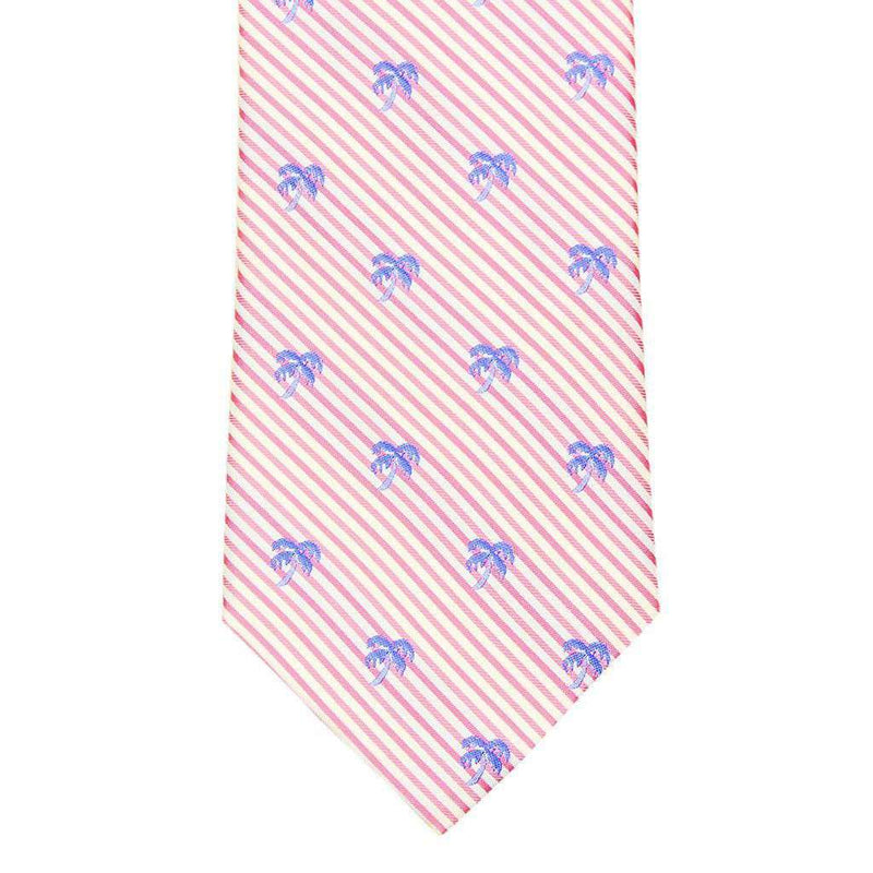 Palm Tree Seersucker Neck Tie in Pink Coral by Southern Tide