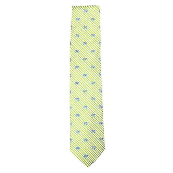 Neck Ties - Palm Tree Seersucker Neck Tie In Summer Green By Southern Tide