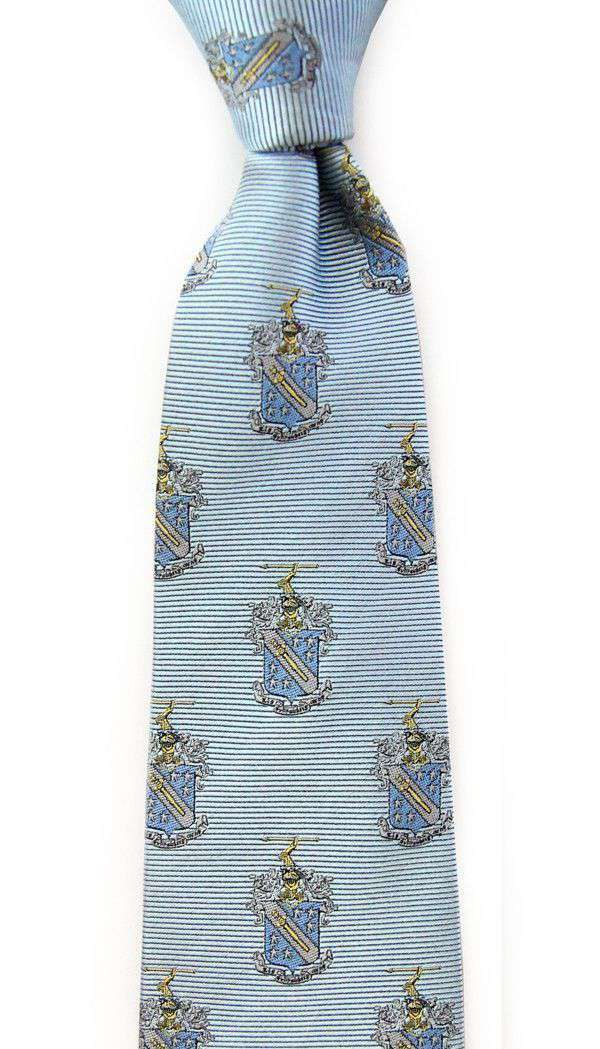 Neck Ties - Phi Delta Theta Neck Tie In Light Blue By Dogwood Black
