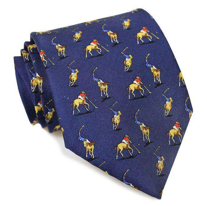 Neck Ties - Polo Match Necktie In Navy By Bird Dog Bay