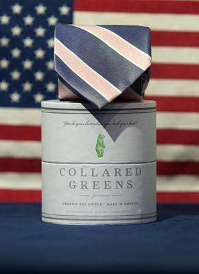 Neck Ties - Poplar Tie In Navy/Pink By Collared Greens