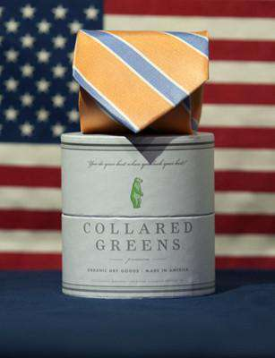 Neck Ties - Poplar Tie In Orange/Blue By Collared Greens