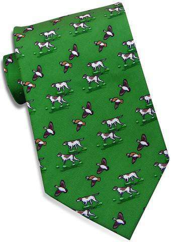 Neck Ties - Quail Hunt Tie In Green By Bird Dog Bay