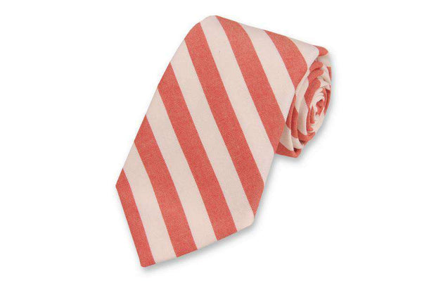 Neck Ties - Red And White Oxford Stripe Neck Tie By High Cotton