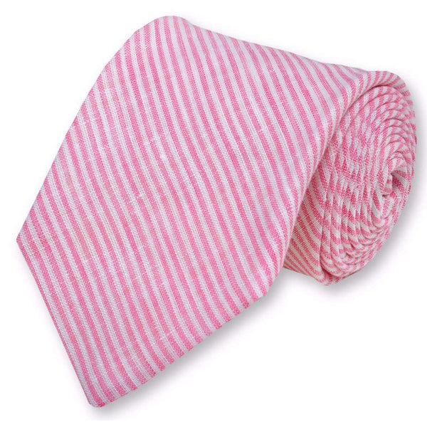 Neck Ties - Riverfront Linen Necktie In Pink By High Cotton