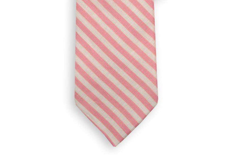 Neck Ties - Rose Pink And White Linen Necktie By High Cotton
