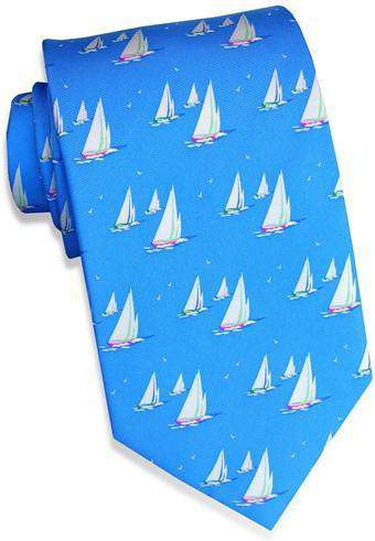 Neck Ties - Sail Away Tie In Blue By Bird Dog Bay