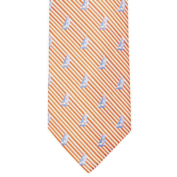 Neck Ties - Sailboat Seersucker Neck Tie In Island Orange By Southern Tide
