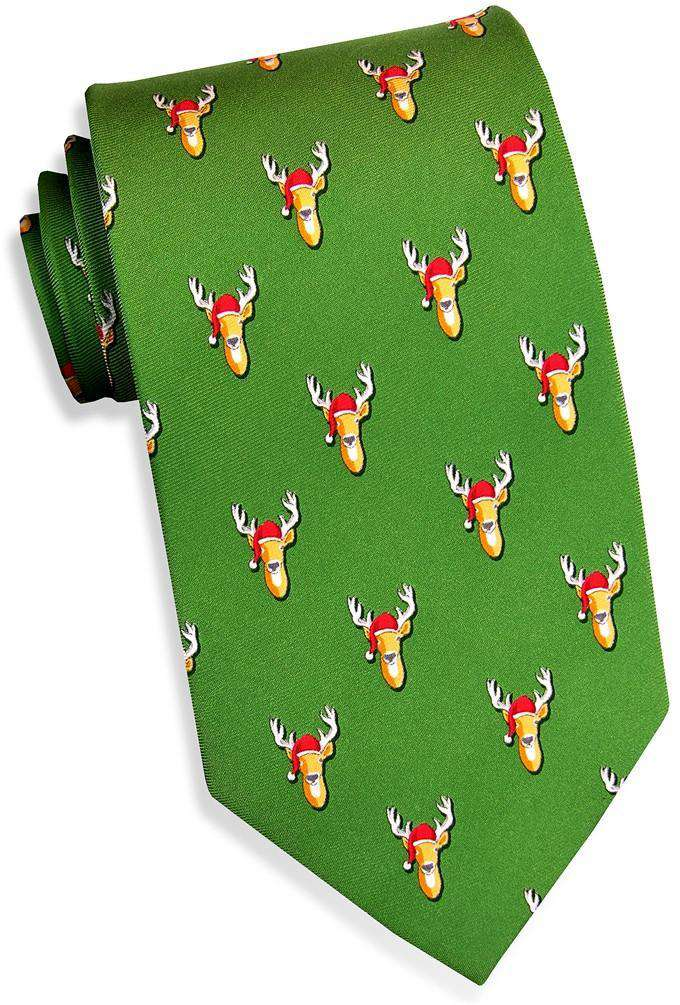 Neck Ties - Santa Stags Tie In Green By Bird Dog Bay