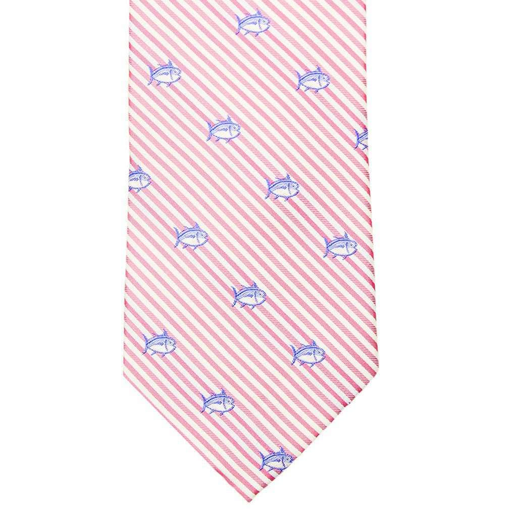Neck Ties - Seersucker Skipjack Neck Tie In Pink Coral By Southern Tide