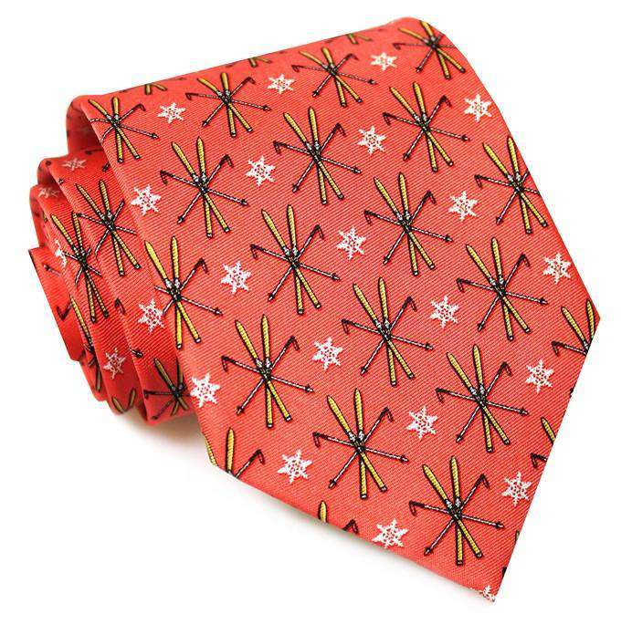 Neck Ties - Ski School Necktie In Coral By Bird Dog Bay