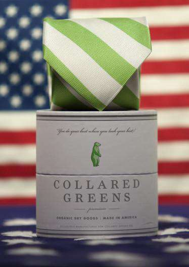 Neck Ties - Skippers Tie In Green And White By Collared Greens