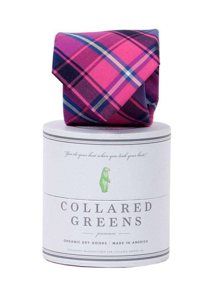 Neck Ties - Spyglass Plaid Tie In Pink And Blue By Collared Greens