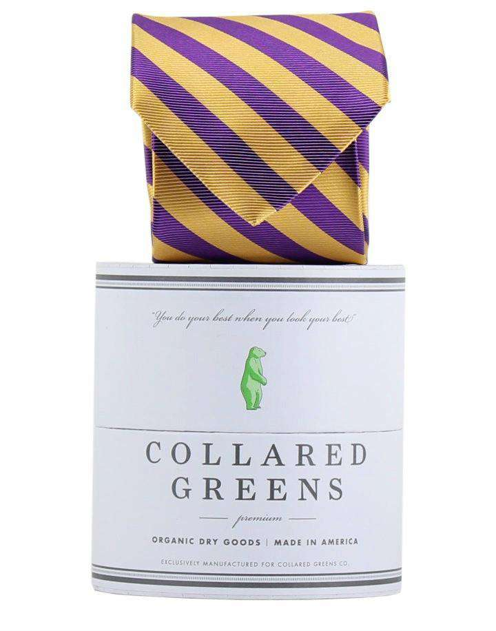 Neck Ties - The Collegiate Tie In Purple/Gold By Collared Greens