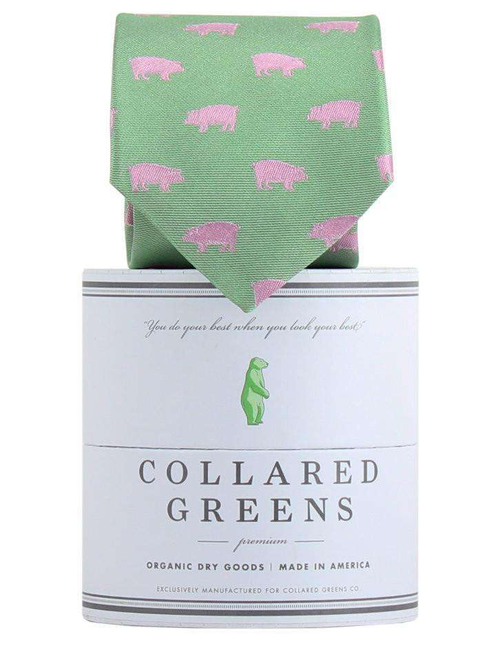 Neck Ties - The Pig Tie In Green And Pink By Collared Greens