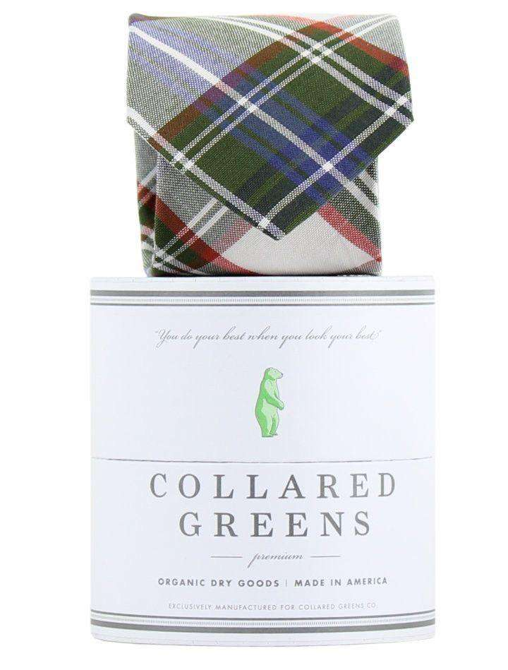 Neck Ties - The Pisgah Tie In Green/Orange/White By Collared Greens