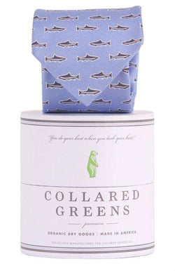 Neck Ties - Trout Tie In Sky Blue By Collared Greens