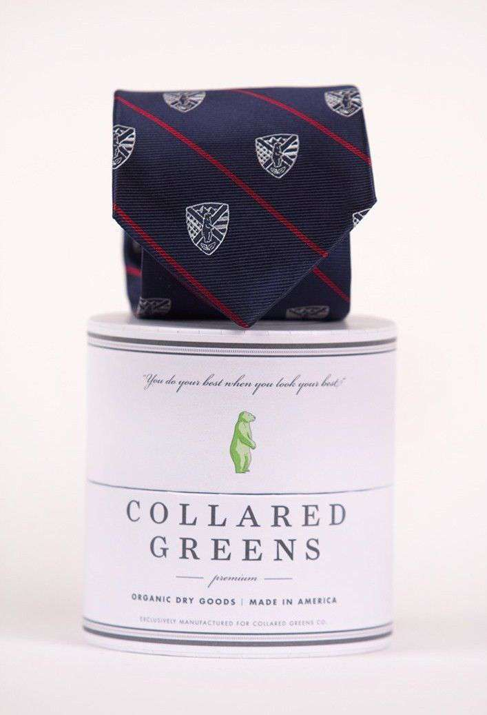 Neck Ties - USA CG Crest Necktie In Red, White, And Blue By Collared Greens