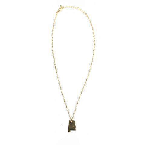 Necklaces - Alabama State Pendant Necklace In Gold By Country Club Prep
