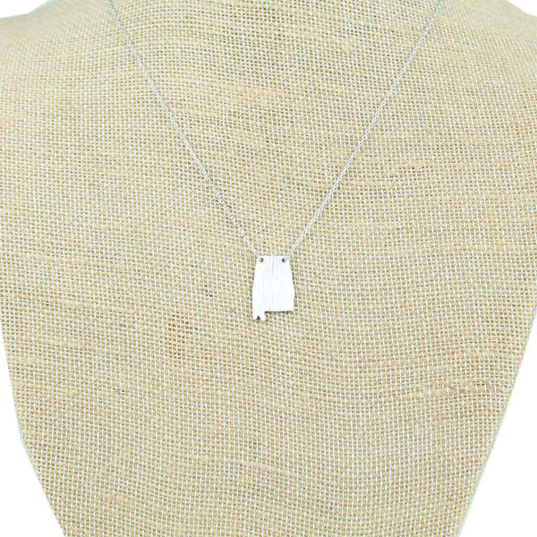 Necklaces - Alabama State Pendant Necklace In Silver By Country Club Prep