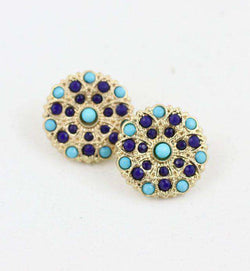 Necklaces - Carnival Stud Earring In Blue By Caroline Hill