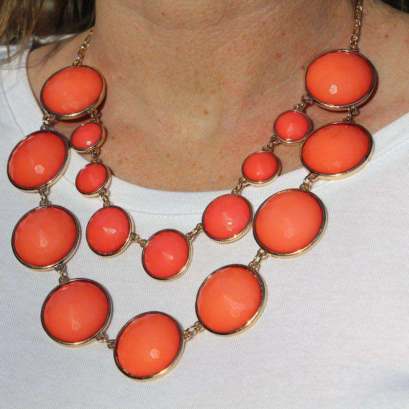 Necklaces - Claudia Double Strand Circular Bead Necklace In Coral By Caroline Hill