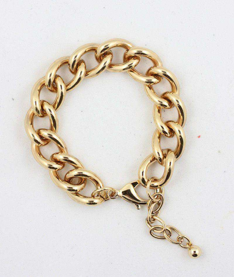 Necklaces - Curved Link Bracelet In Gold By Caroline Hill