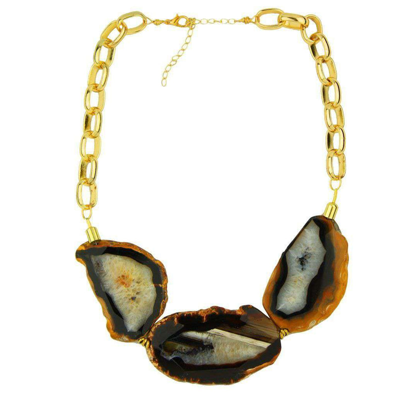 Necklaces - Dawn Agate Stone Necklace In Black By Bourbon & Boweties