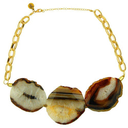 Dawn Agate Stone Necklace in Brown by Bourbon & Boweties