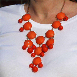 Necklaces - Double Drop Statement Necklace In Burnt Orange By Caroline Hill
