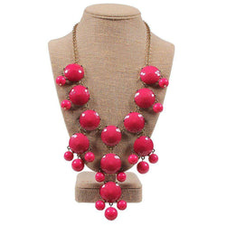 Necklaces - Double Drop Statement Necklace In Pink By Caroline Hill