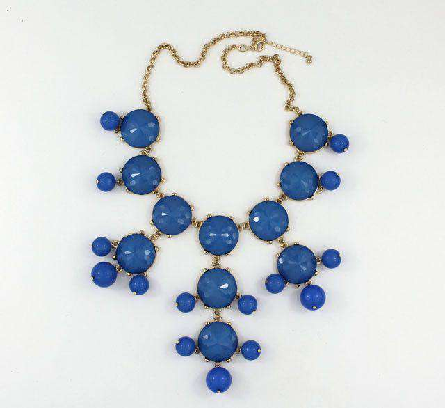 Necklaces - Double Drop Statement Necklace In Powder Blue By Caroline Hill
