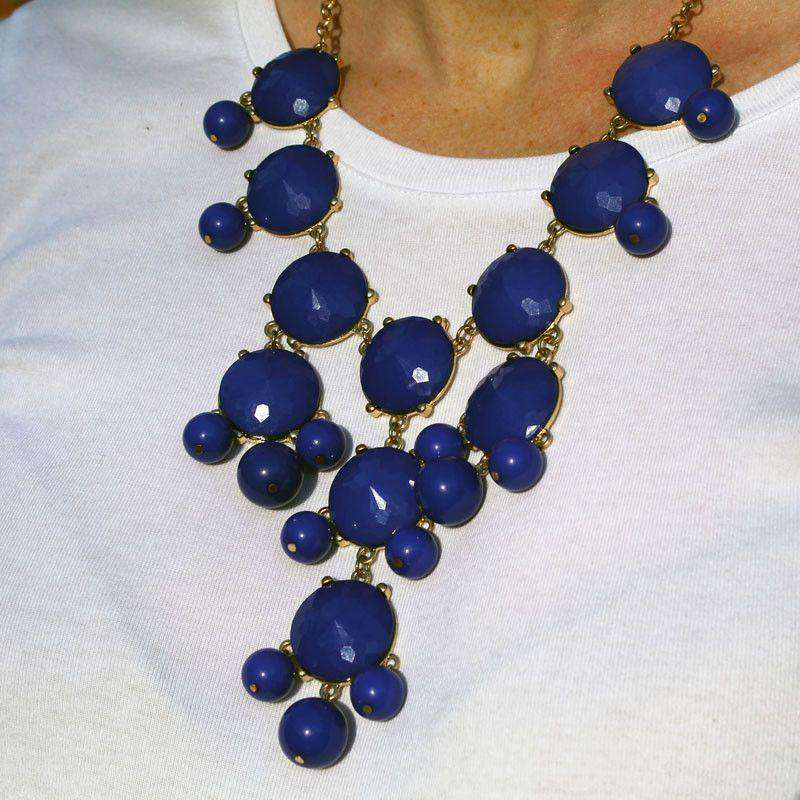 Necklaces - Double Drop Statement Necklace In Royal Blue By Caroline HIll