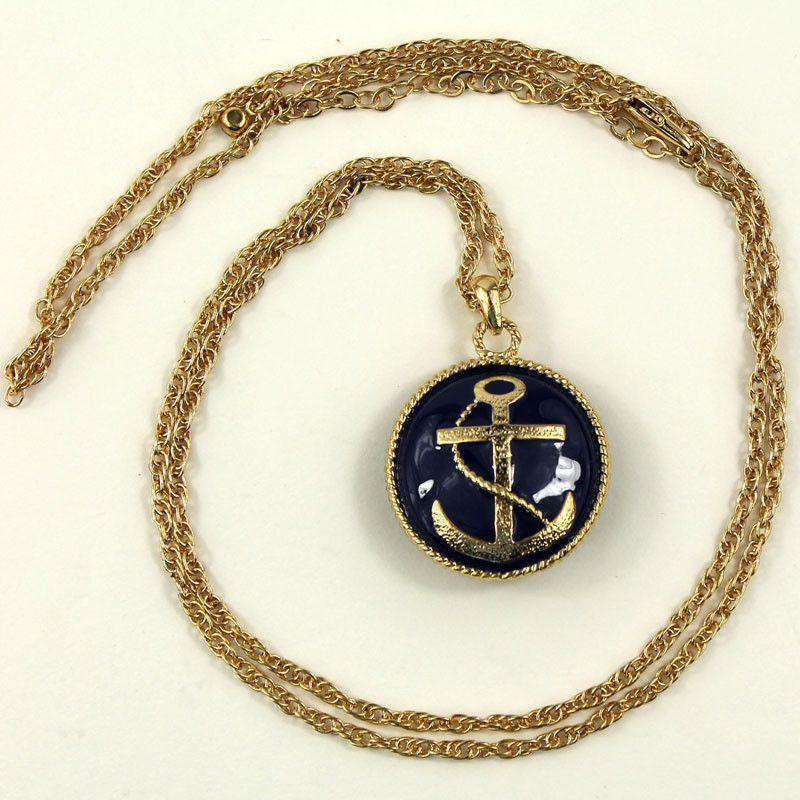 Necklaces - Enamel Anchor Long Necklace In Navy By Caroline Hill
