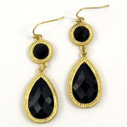 Necklaces - Gabie Double Drop Earring In Black By Caroline Hill