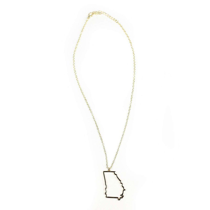 Necklaces - Georgia Silhouette Necklace In Gold By Country Club Prep