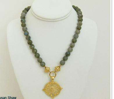 Gold Bee Necklace in Labrodite by Susan Shaw