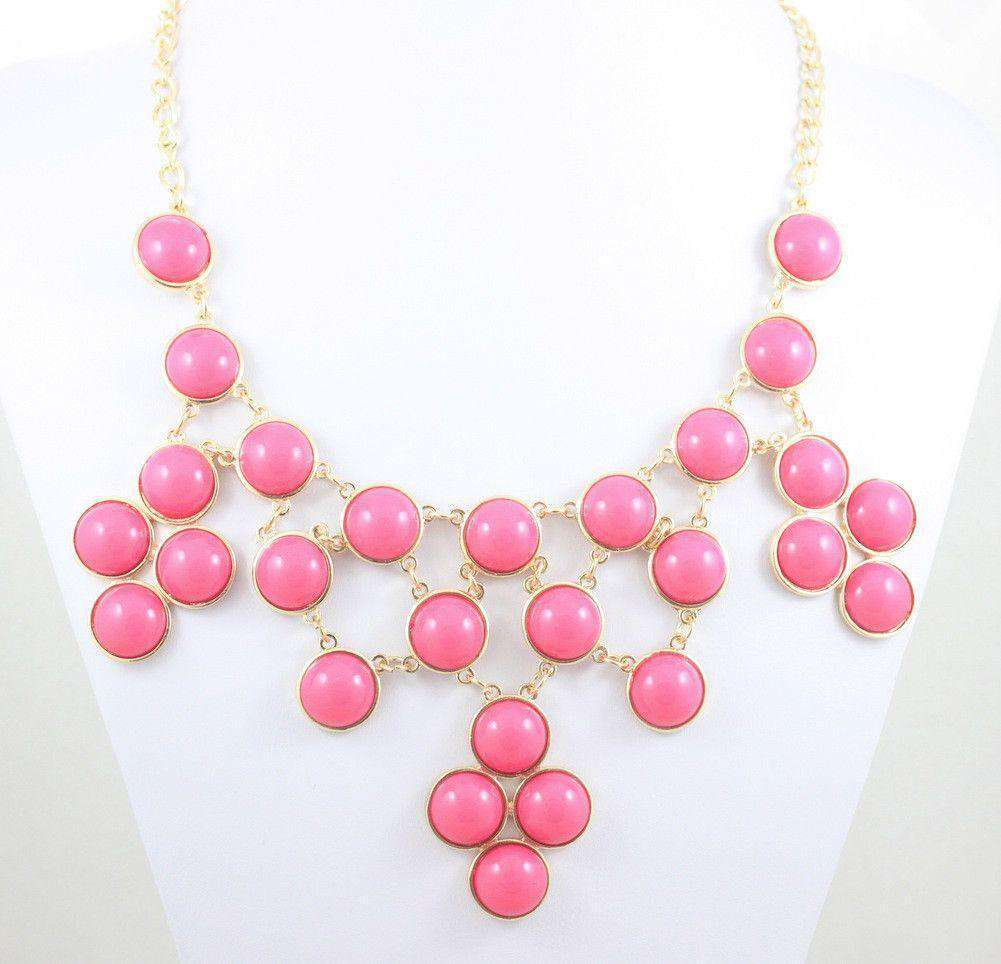 Necklaces - Jackie Bib Necklace In Hot Pink By Caroline Hill
