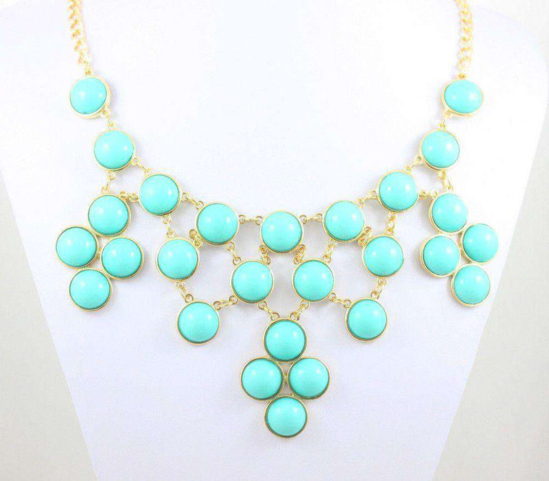Necklaces - Jackie Bib Necklace In Turquoise By Caroline Hill