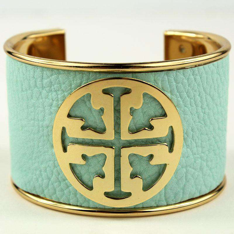 Necklaces - Large Medallion Cuff In Aqua By Caroline Hill
