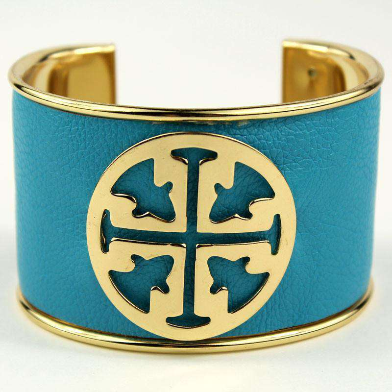 Necklaces - Large Medallion Cuff In Turquoise By Caroline Hill