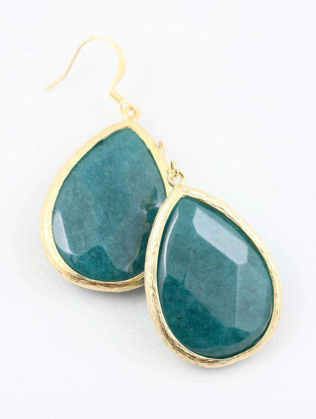 Necklaces - Large Teardrop Earring In Teal By Caroline Hill