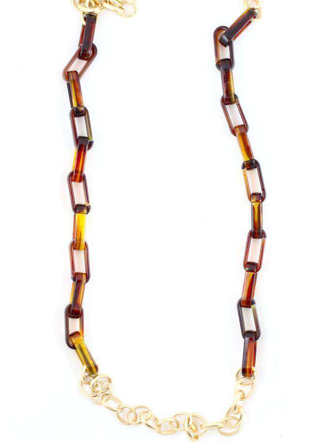 Necklaces - Long Tortoise And Chain Link Necklace By Caroline Hill